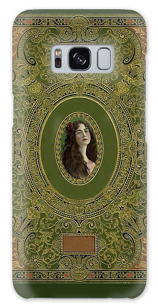 Antique Book Cover With Cameo - Green And Gold Galaxy Case by Peggy Collins