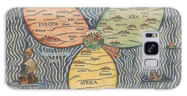 Antique Maps - Old Cartographic Maps - Antique Clover Leaf Map Of Europe, Asia And Africa Galaxy Case