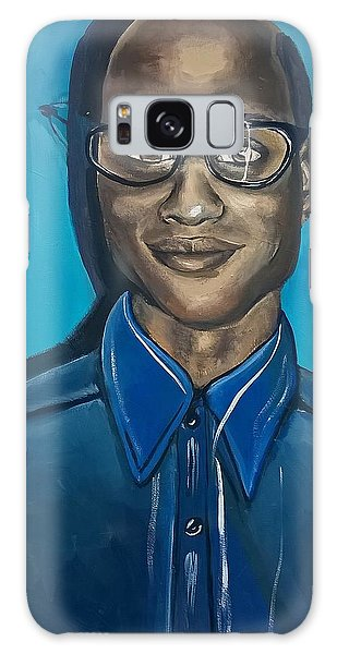 Smart Black Man Nerd Guy With Glasses Cartoon Art Painting Galaxy Case