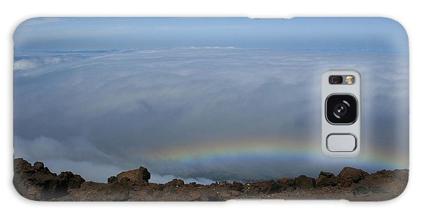 Anuenue - Rainbow At The Ahinahina Ahu Haleakala Sunrise Maui Hawaii Galaxy Case