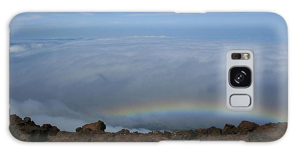Anuenue - Rainbow At The Ahinahina Ahu Haleakala Sunrise Maui Hawaii Galaxy Case by Sharon Mau
