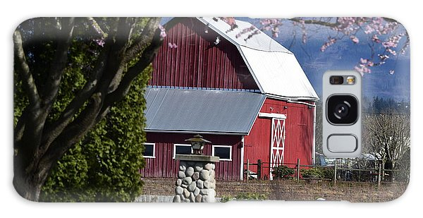 Apple Tree Pink And Barn Red Galaxy Case
