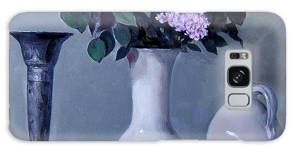 Apples And Lilacs, Silver Vase, Vintage Stoneware Jug Galaxy Case