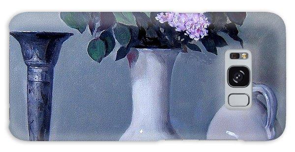 Apples And Lilacs, Silver Vase, Vintage Stoneware Jug Galaxy Case
