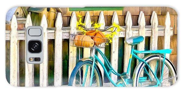Aqua Antique Bicycle Along Fence Galaxy Case