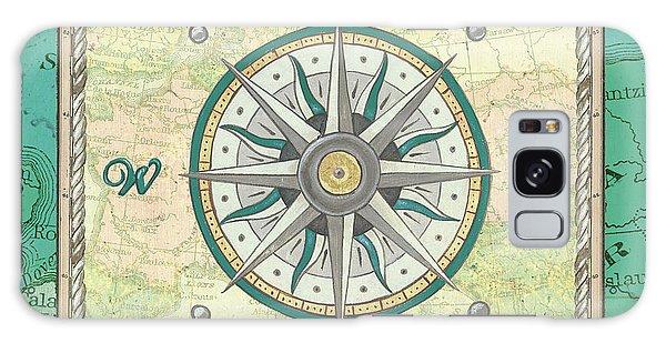 Galaxy Case - Aqua Maritime Compass by Debbie DeWitt