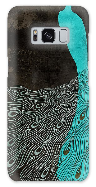 Peacocks Galaxy Case - Aqua Peacock Art Nouveau by Mindy Sommers