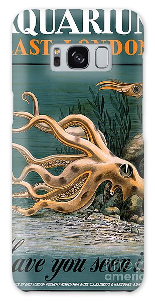 Aquarium Octopus Vintage Poster Restored Galaxy Case