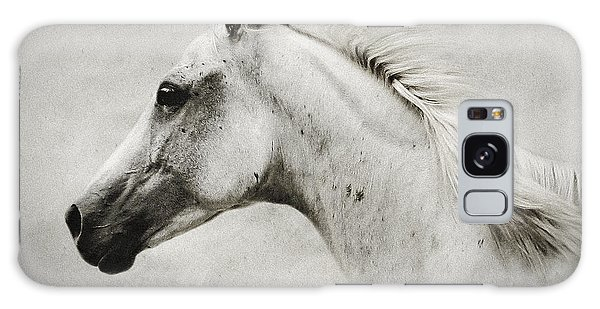 Arabian White Horse Portrait Galaxy Case