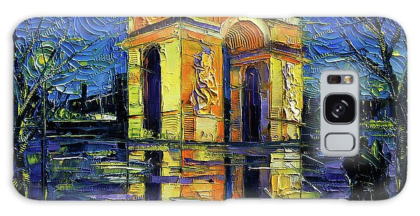 Abstract People Galaxy Case - Arc De Triomphe Paris Mirroring Modern Impressionist Impasto Cityscape Oil Painting by Mona Edulesco
