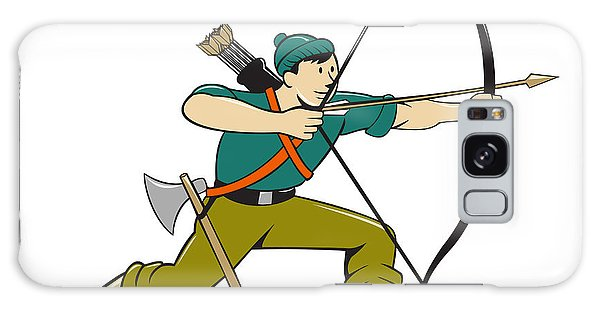 Sportsman Galaxy Case - Archer Aiming Long Bow Arrow Cartoon by Aloysius Patrimonio