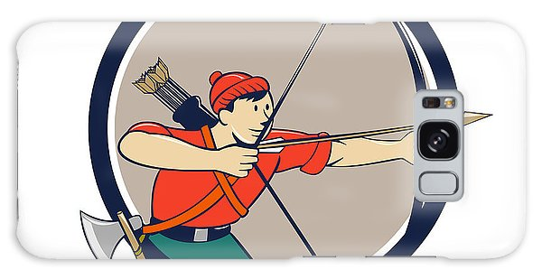 Sportsman Galaxy Case - Archer Aiming Long Bow Arrow Cartoon Circle by Aloysius Patrimonio