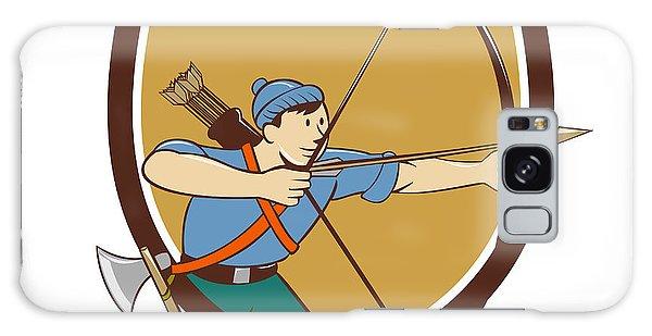 Sportsman Galaxy Case - Archer Aiming Long Bow Arrow Cartoon Crest by Aloysius Patrimonio
