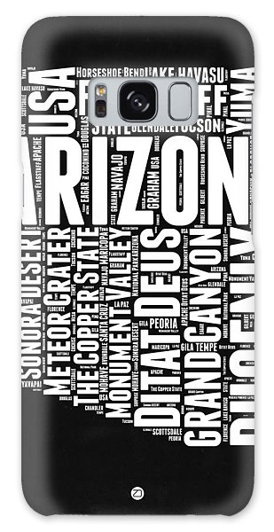 Arizona Black And White Word Cloud Map Galaxy Case by Naxart Studio