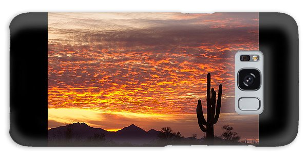 Arizona November Sunrise With Saguaro   Galaxy Case