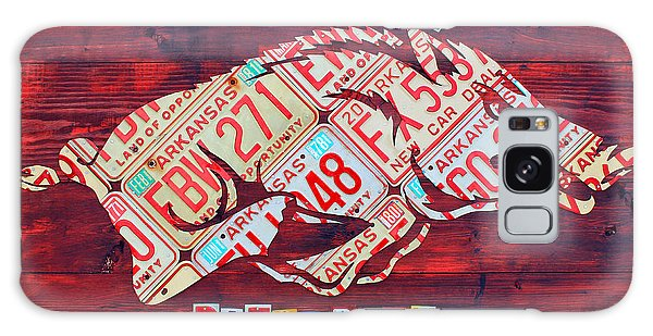 Recycle Galaxy Case - Arkansas Razorbacks Recycled Vintage License Plate Art Sports Team Logo by Design Turnpike