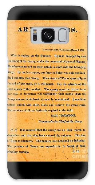 Texian Army Orders Call To Arms Broadside From Sam Houston 1836 Texas Revolution Galaxy Case