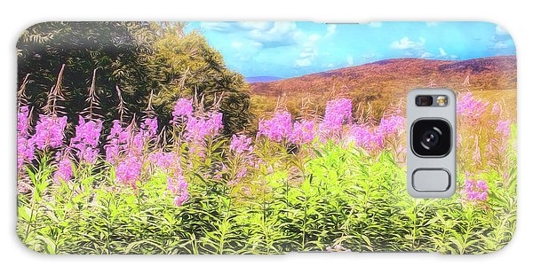 Art Photo Of Vermont Rolling Hills With Pink Flowers In The Foreground Galaxy Case