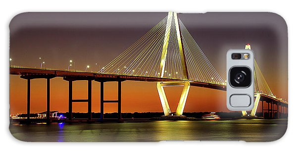 Arthur Ravenel Bridge At Night Galaxy Case
