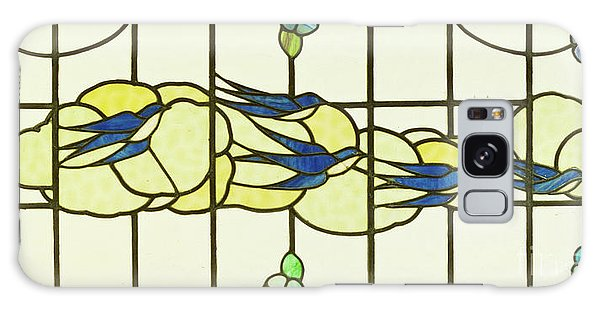 Arts And Crafts Panel Of A Group Of Swallows Before Clouds In A Border Of Flowers Galaxy Case