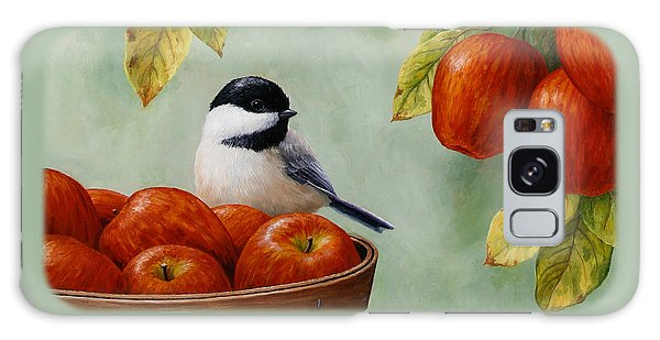 Song Bird Galaxy Case - Apple Chickadee Greeting Card 1 by Crista Forest