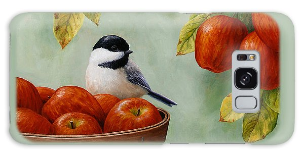 Apple Chickadee Greeting Card 1 Galaxy Case by Crista Forest