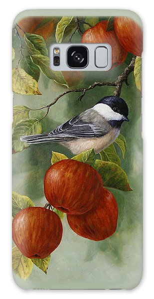 Song Bird Galaxy Case - Apple Chickadee Greeting Card 2 by Crista Forest