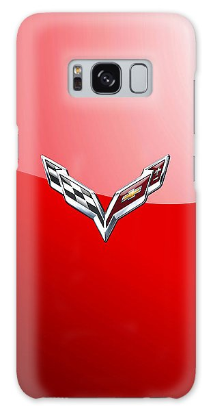 Chevrolet Corvette - 3d Badge On Red Galaxy Case