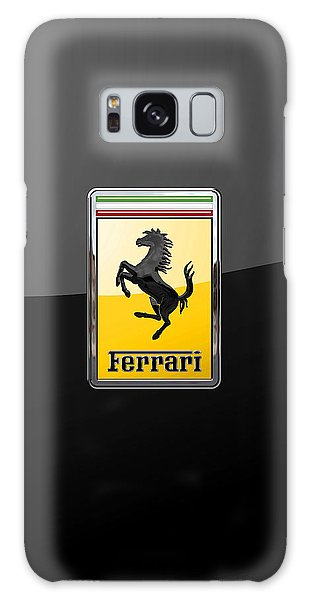 Ferrari - 3 D Badge On Black Galaxy Case