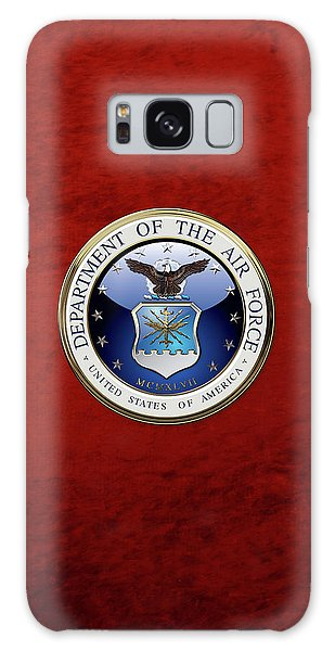 U. S.  Air Force  -  U S A F Emblem Over Red Velvet Galaxy Case