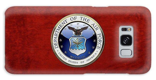 U. S.  Air Force  -  U S A F Emblem Over Red Velvet Galaxy Case