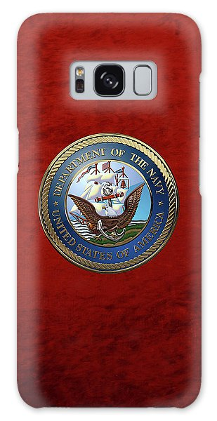 U. S.  Navy  -  U S N Emblem Over Red Velvet Galaxy Case