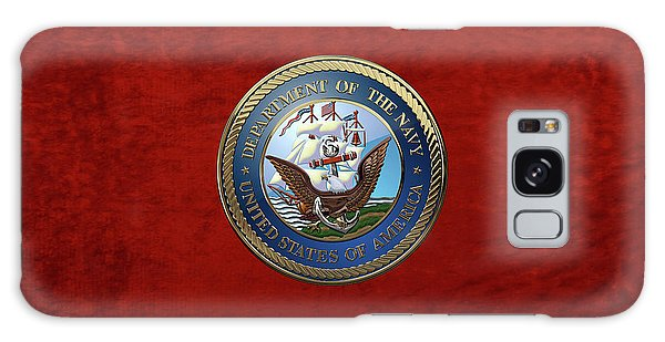 U. S.  Navy  -  U S N Emblem Over Red Velvet Galaxy Case
