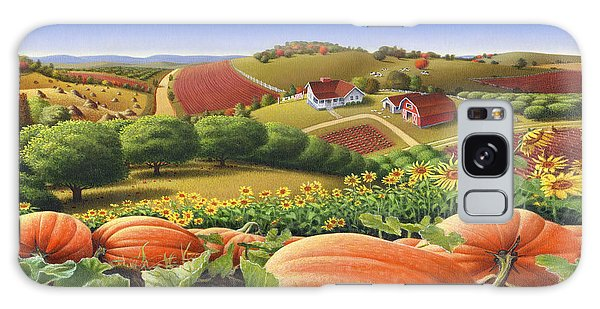 Farm Landscape - Autumn Rural Country Pumpkins Folk Art - Appalachian Americana - Fall Pumpkin Patch Galaxy Case