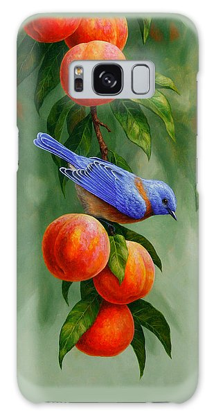 Bluebird Galaxy Case - Bird Painting - Bluebirds And Peaches by Crista Forest