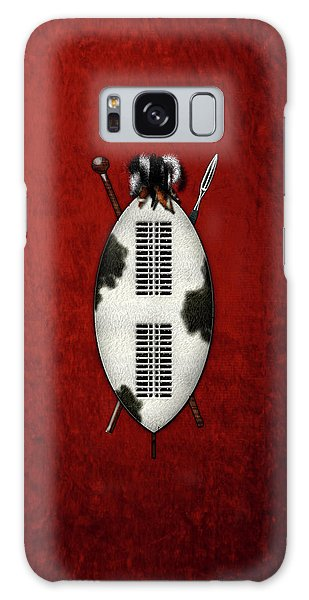 Weapons Galaxy Case - Zulu War Shield With Spear And Club On Red Velvet  by Serge Averbukh
