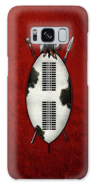 Zulu War Shield With Spear And Club On Red Velvet  Galaxy Case