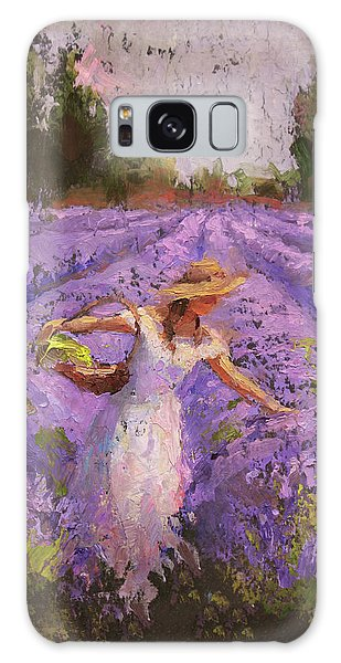 Woman Picking Lavender In A Field In A White Dress - Lady Lavender - Plein Air Painting Galaxy Case