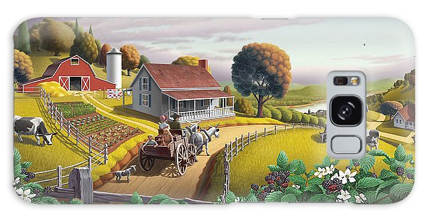Americana Galaxy Case -  Appalachian Blackberry Patch Rustic Country Farm Folk Art Landscape - Rural Americana - Peaceful by Walt Curlee