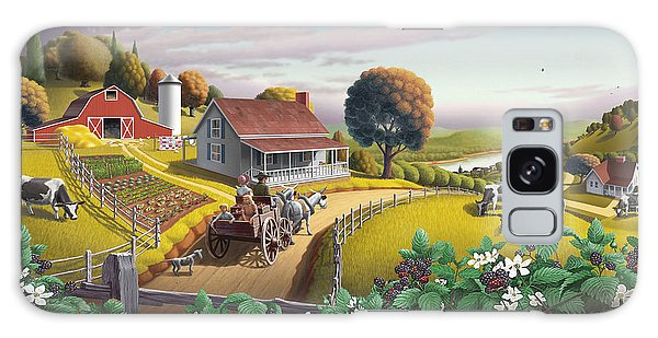 Rural Galaxy S8 Case -  Appalachian Blackberry Patch Rustic Country Farm Folk Art Landscape - Rural Americana - Peaceful by Walt Curlee