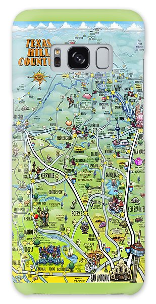 Texas Hill Country Cartoon Map Galaxy Case