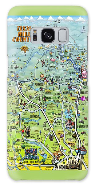 Texas Hill Country Cartoon Map Galaxy Case by Kevin Middleton