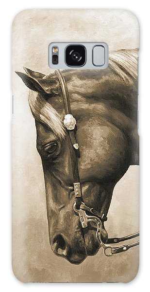 Equine Galaxy Case - Western Horse Painting In Sepia by Crista Forest