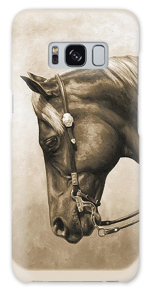 Horse Galaxy Case - Western Horse Painting In Sepia by Crista Forest
