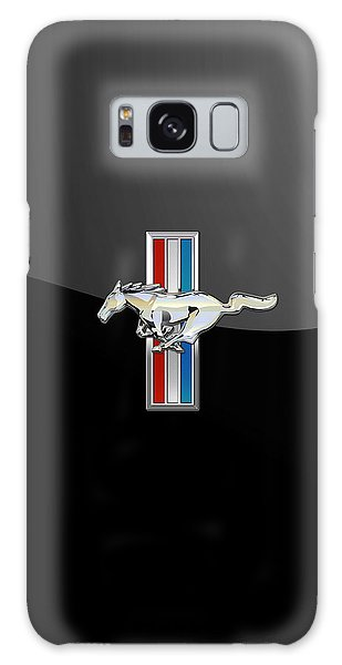 Ford Mustang - Tri Bar And Pony 3 D Badge On Black Galaxy Case