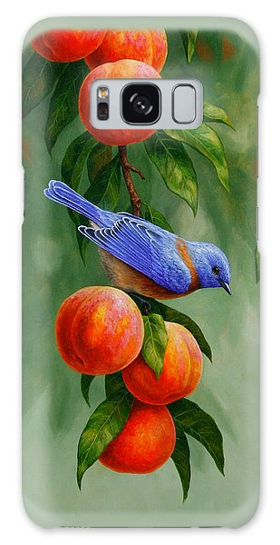 Song Bird Galaxy Case - Bluebird And Peaches Greeting Card 1 by Crista Forest