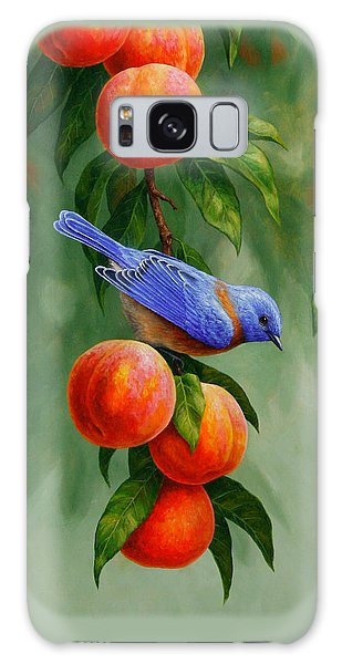 Bluebird Galaxy Case - Bluebird And Peaches Greeting Card 1 by Crista Forest