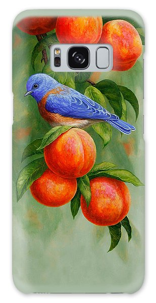 Song Bird Galaxy Case - Bluebird And Peaches Greeting Card 2 by Crista Forest