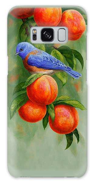 Bluebird And Peaches Greeting Card 2 Galaxy Case by Crista Forest