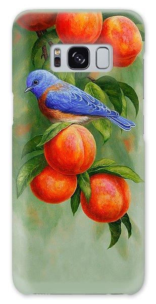 Bluebird Galaxy Case - Bluebird And Peaches Greeting Card 2 by Crista Forest